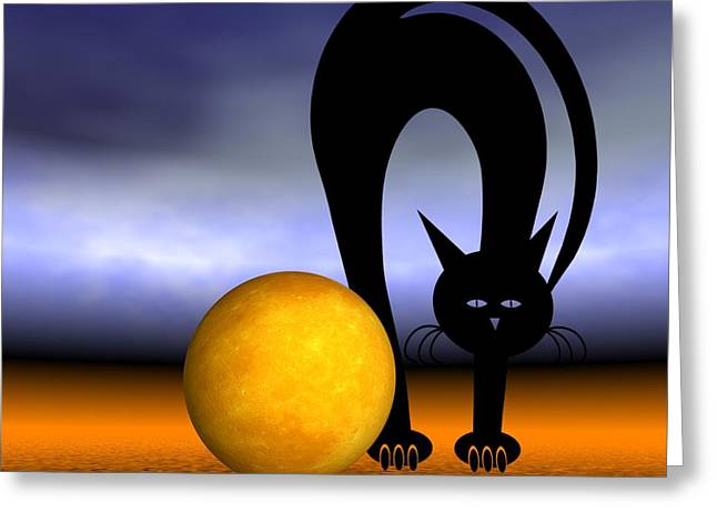 Mooncat's Play With The Fullmoon Greeting Card