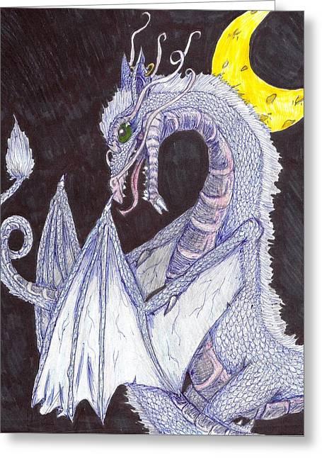 Moon Dragon Greeting Card by Joshua Massenburg