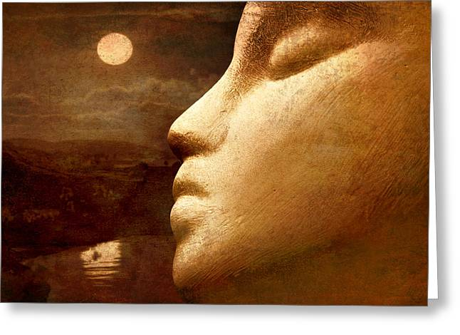 Intrigue Greeting Cards - Moonface Greeting Card by Jeff  Gettis