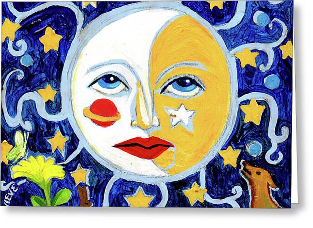 Greeting Card featuring the painting Moonface With Wolf And Stars by Genevieve Esson