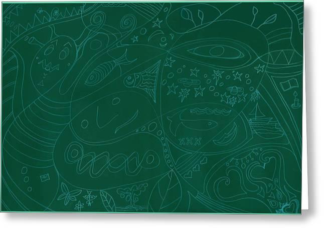 Moonfish Drawing Negative Green Chalk Greeting Card