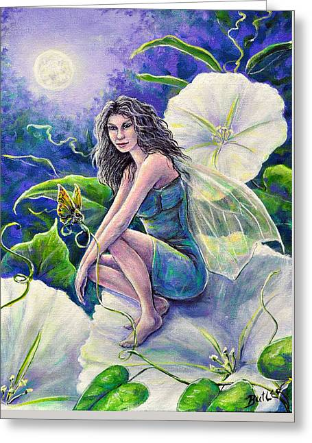 Moonflower Greeting Card by Gail Butler