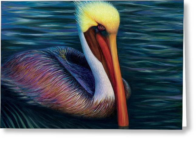 Pelican Paintings Greeting Cards - Moonglow Greeting Card by Tammy Olson