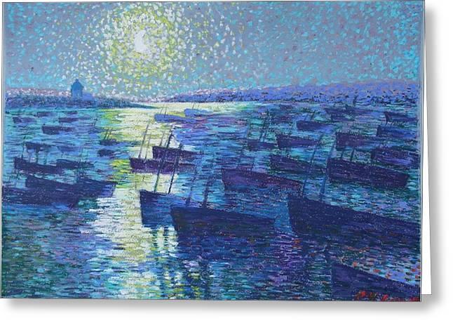 Moonlight And Fishing Boat Greeting Card