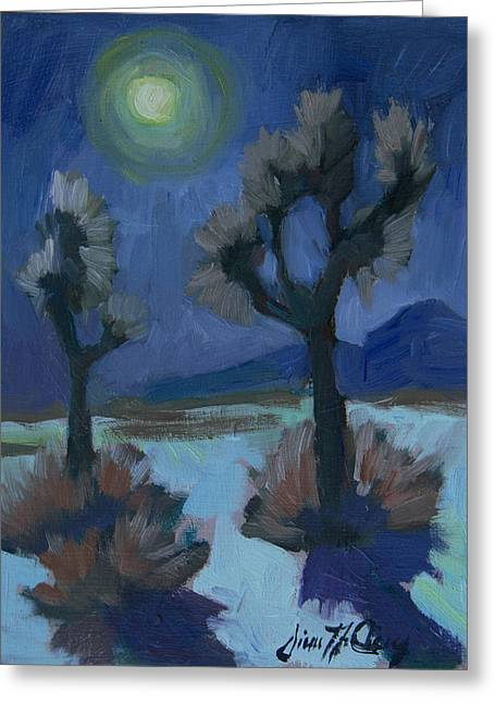 Moonlight And Joshua Tree Greeting Card by Diane McClary