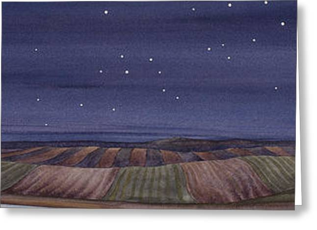 Greeting Card featuring the painting Moonlight And School by Scott Kirby