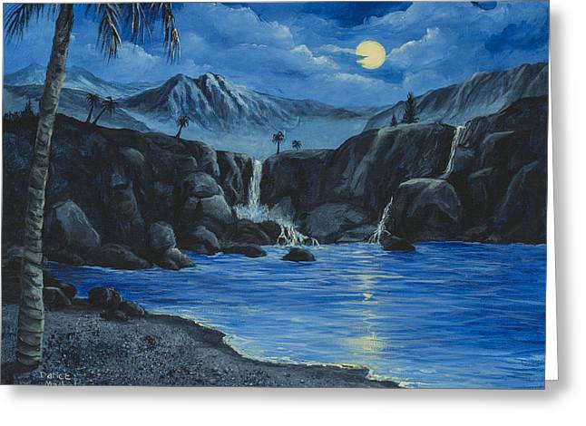 Moonlight And Waterfalls Greeting Card