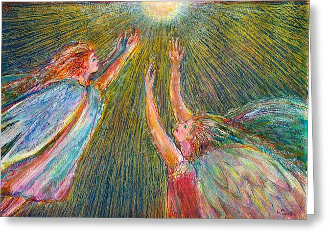 Moonlight Angels Greeting Card by Laurie Parker