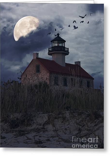 Moonlight At East Point Greeting Card by Debra Fedchin