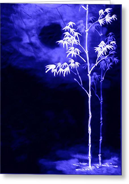 Greeting Card featuring the painting Moonlight Bamboo by Lanjee Chee