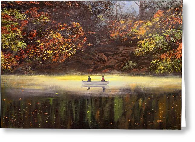 Moonlight Canoeing Greeting Card by Connie Tom