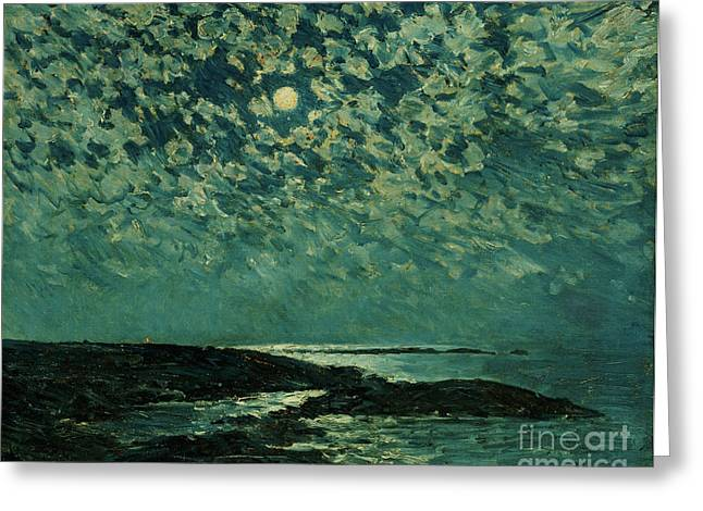 Childe Greeting Cards - Moonlight Greeting Card by Childe Hassam