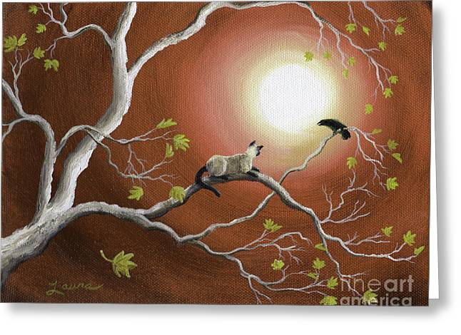 Moonlight Conversation In Sepia Greeting Card by Laura Iverson
