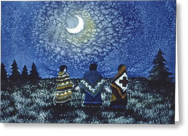 Moonlight Counsel Greeting Card by Lynda Hoffman-Snodgrass