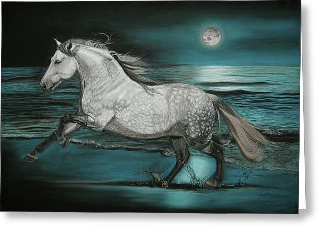 Sea Horse Pastels Greeting Cards - Moonlight Dancer Greeting Card by Sabine Lackner