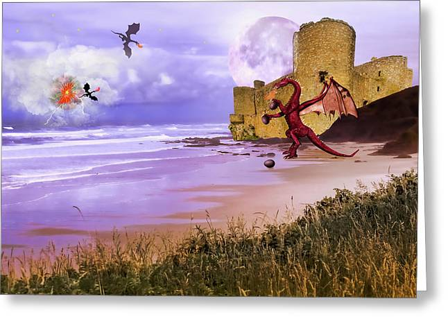 Moonlight Dragon Attack Greeting Card by Diane Schuster