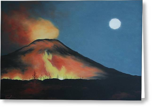 Moonlight Eruption Greeting Card by Mary Taglieri