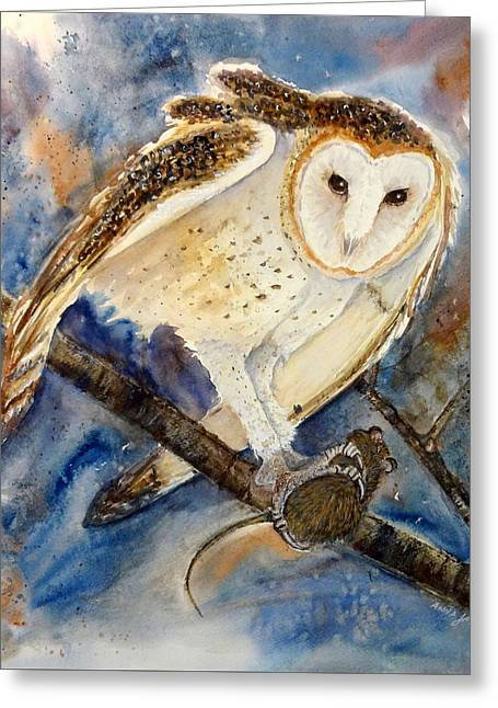 Moonlight Feast - Barn Owl Greeting Card