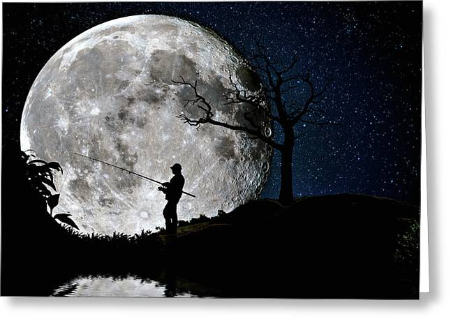 Greeting Card featuring the photograph Moonlight Fishing Under The Supermoon At Night by Justin Kelefas