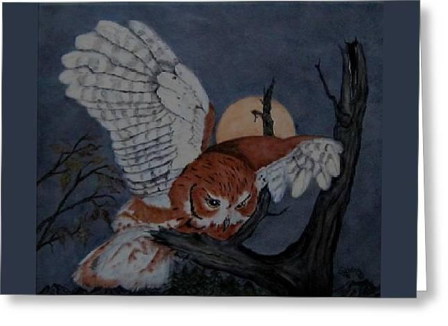 Moonlight Flight Greeting Card by Sandra Maddox