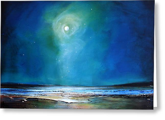 Moonlight Flyby Greeting Card by Toni Grote