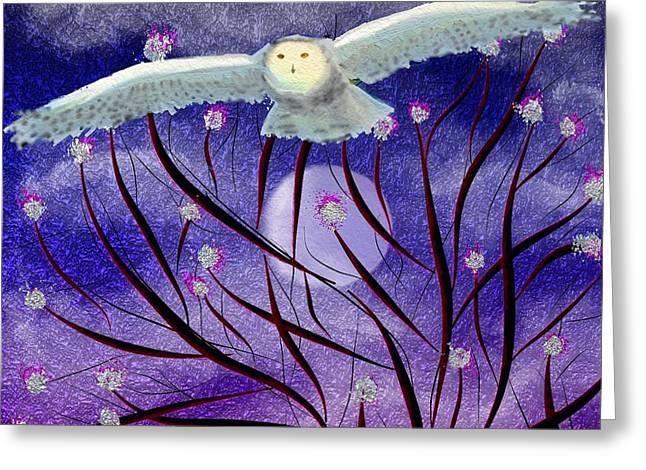 Greeting Card featuring the digital art Moonlight Hunt by Iowan Stone-Flowers