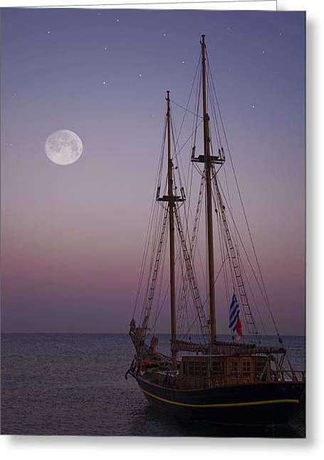 Moonlight In The Med Greeting Card by Mark H Roberts