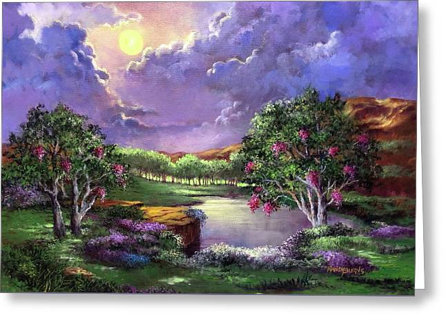 Moonlight In The Woods Greeting Card by Randy Burns