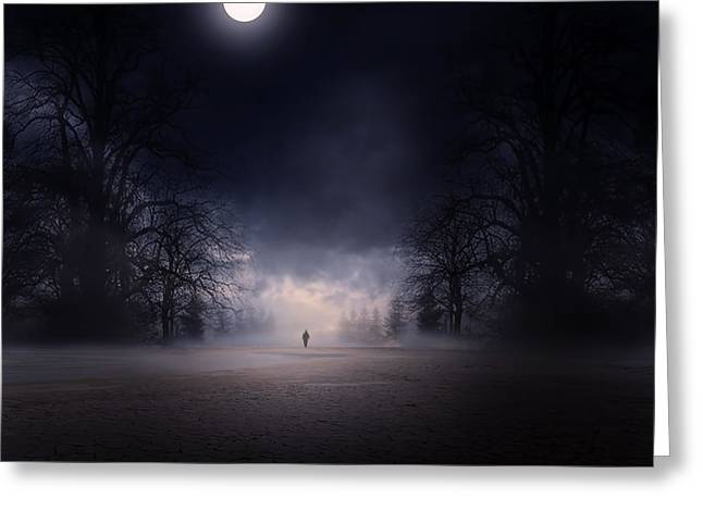 Misty Greeting Cards - Moonlight Journey Greeting Card by Lourry Legarde