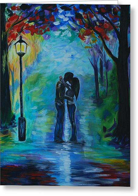 Greeting Card featuring the painting Moonlight Kiss by Leslie Allen