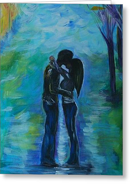 Greeting Card featuring the painting Moonlight Kiss Series 1 by Leslie Allen