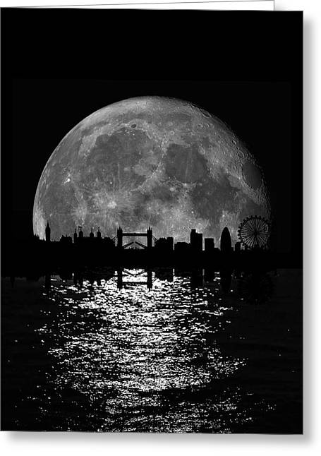 Moonlight London Skyline Greeting Card by Mark Rogan