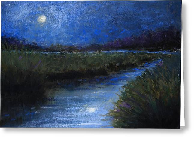 Christian Pastels Greeting Cards - Moonlight Marsh Greeting Card by Susan Jenkins