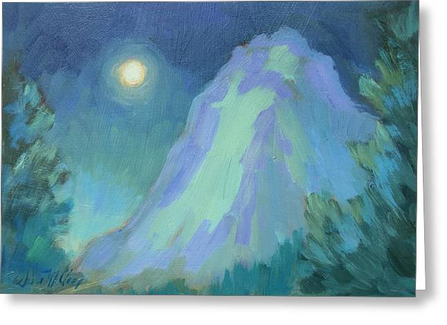 Moonlight On Lily Rock Greeting Card