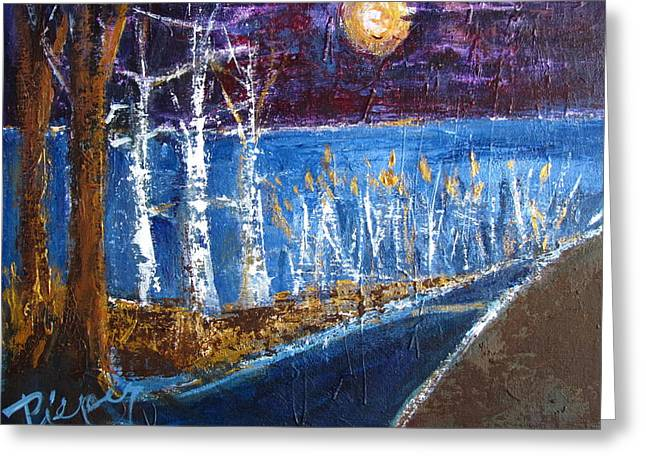 Moonlight On Path To Beach Greeting Card