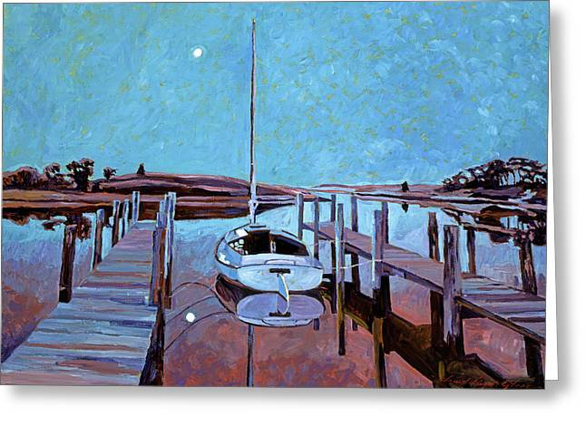 Sailboats Docked Greeting Cards - Moonlight on the Bay Greeting Card by David Lloyd Glover