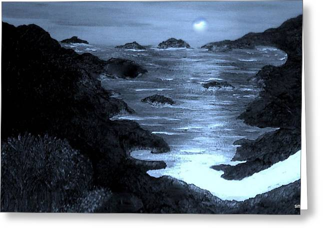 Moonlight On The Coast Greeting Card by Sherri's - Of Palm Springs