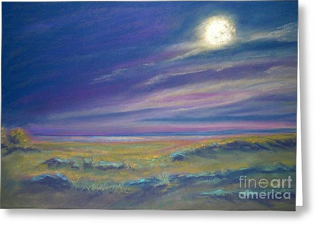 Moonlight On The Dunes Greeting Card by Addie Hocynec