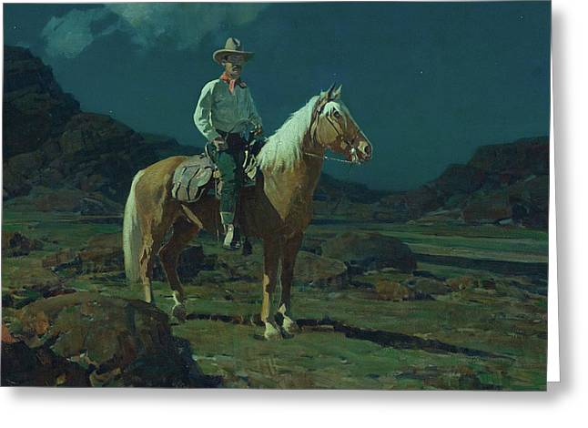 Moonlight On The Ranch Greeting Card