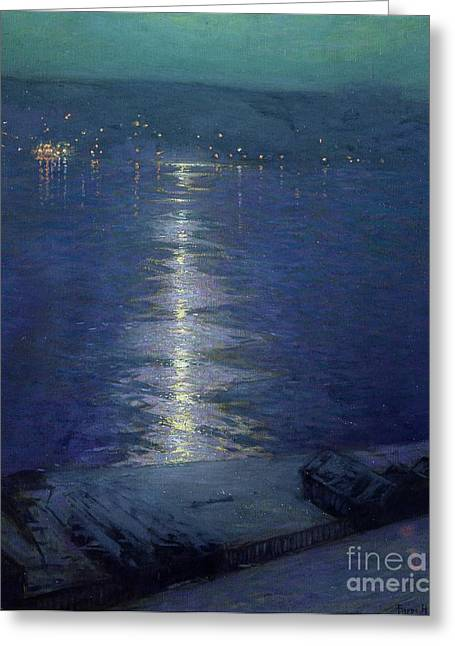 Moonlight On The River Greeting Card