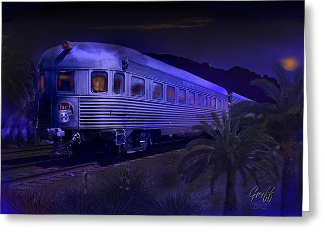 Moonlight On The Sante Fe Chief Greeting Card