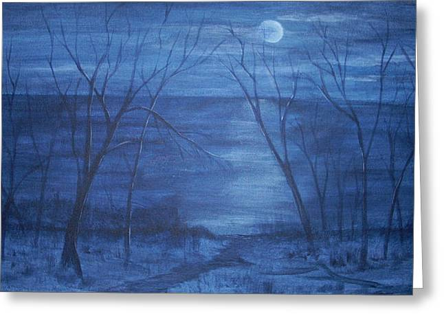 Moonlight On The Water Greeting Card by Nora Niles