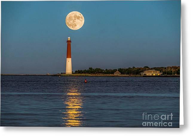 Moonlight Over Barnegat Lighthouse Greeting Card by Nick Zelinsky