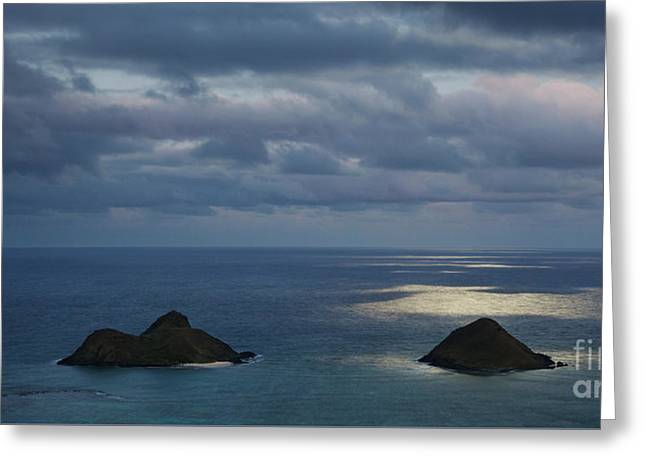 Greeting Card featuring the photograph Moonlight Over Mokulua Islands by Charmian Vistaunet