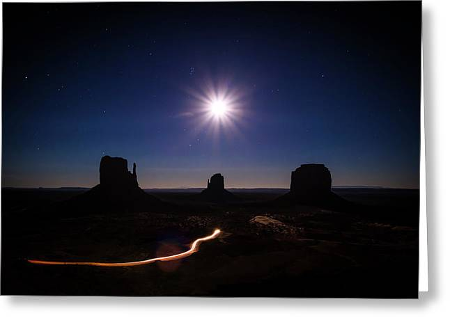 Moonlight Over Valley Greeting Card
