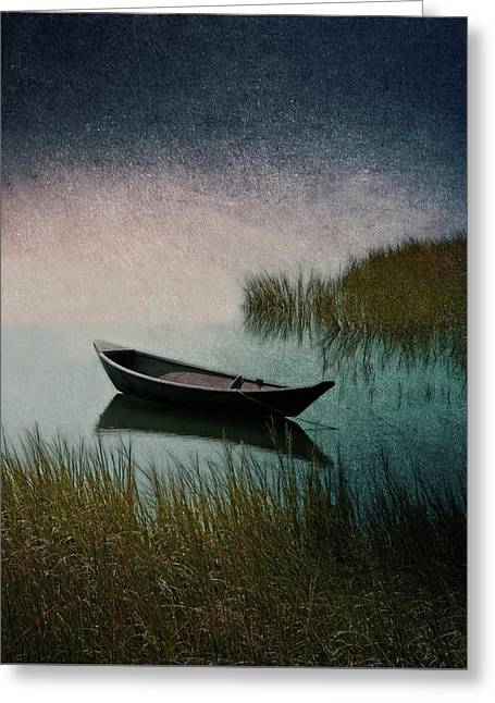 Moonlight Paddle Greeting Card by Brooke T Ryan