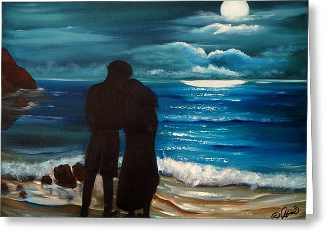 Greeting Card featuring the painting Moonlight Romance by Joni McPherson