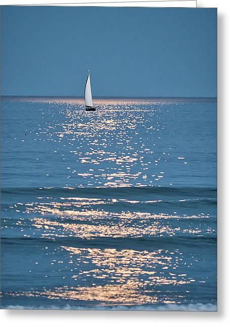 Moonlight Sail - Ogunquit Beach - Maine Greeting Card