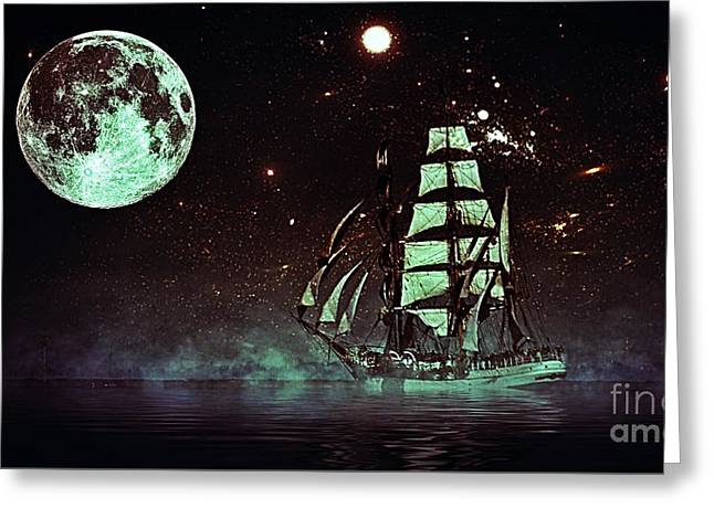 Moonlight Sailing Greeting Card