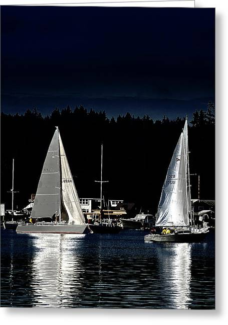 Greeting Card featuring the photograph Moonlight Sailing by David Patterson